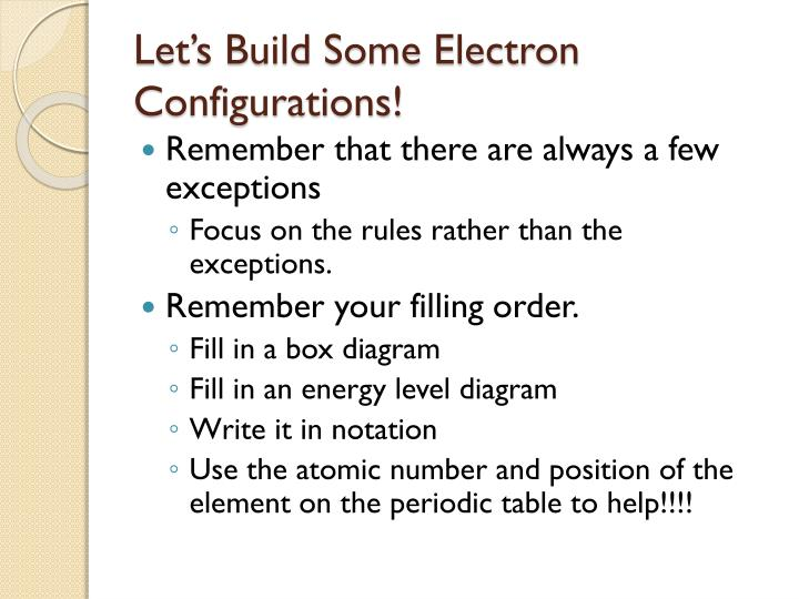 Ppt electron configuration and atomic properties powerpoint lets build some electron configurations urtaz Image collections