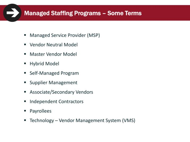 Managed Staffing Programs – Some Terms