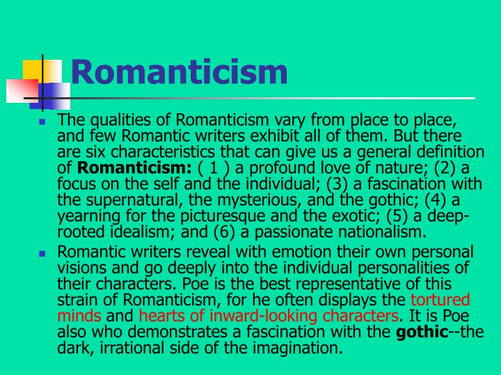 characteristics of poes works This work compared to poe's the tell-tale heart will show that characteristics of poe's work that, both, make him a romantic writer and separate him from other romantic writers.