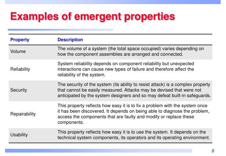 Examples of emergent properties