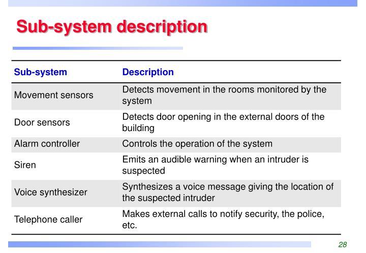 Sub-system description