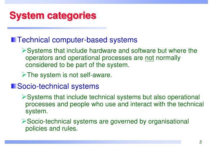 System categories
