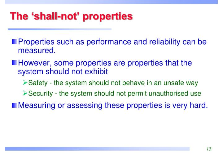 The 'shall-not' properties