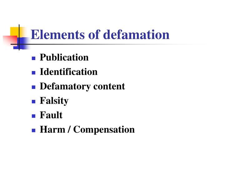 Elements of defamation