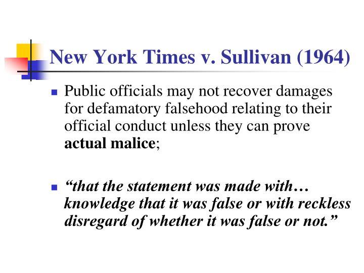 New York Times v. Sullivan (1964)