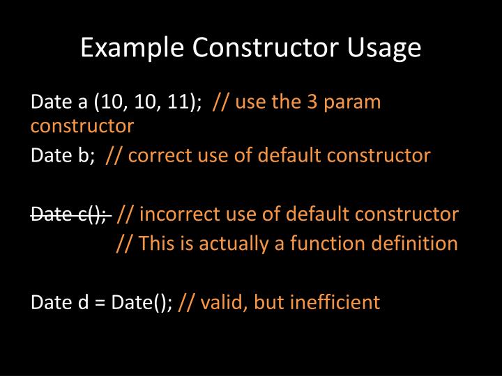 Example Constructor Usage