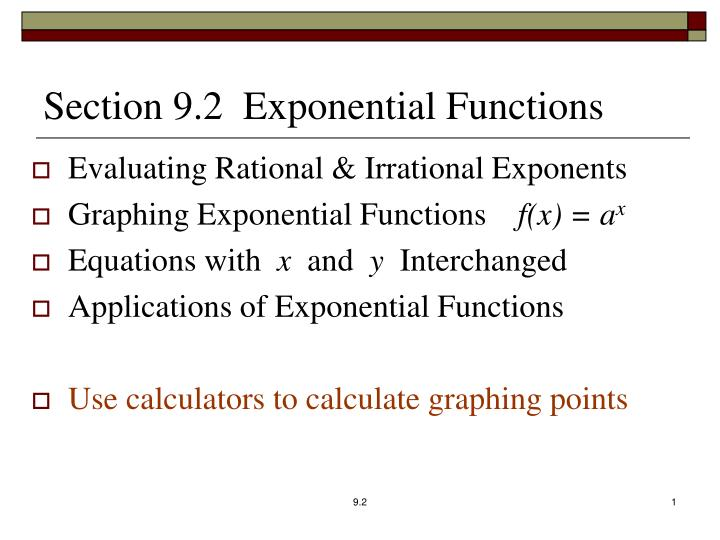 section 9 2 exponential functions n.