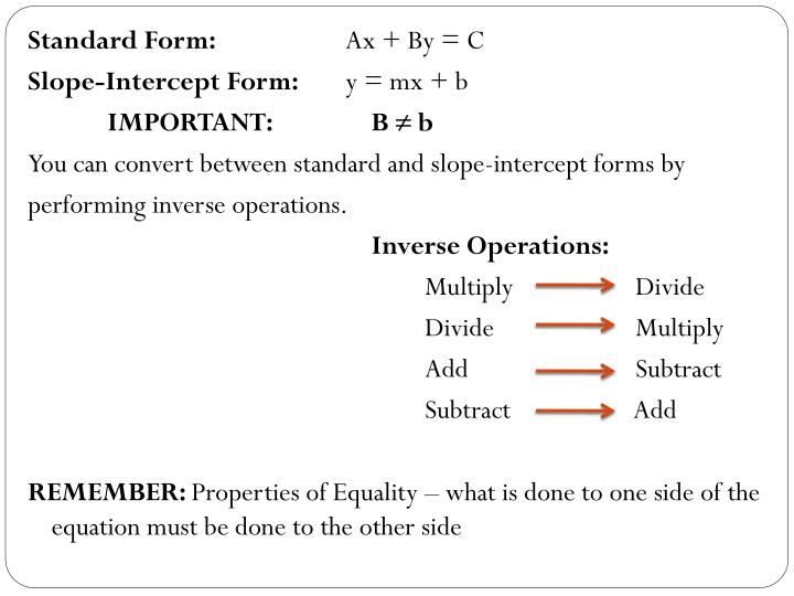 Ppt Standard And Slope Intercept Forms Powerpoint Presentation