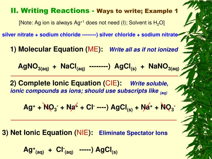 II. Writing Reactions -