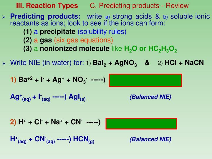 III. Reaction Types