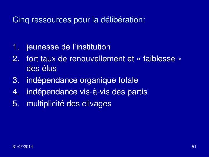 Cinq ressources pour la délibération: