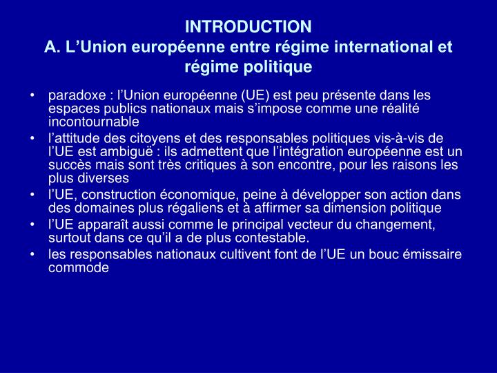 Introduction a l union europ enne entre r gime international et r gime politique