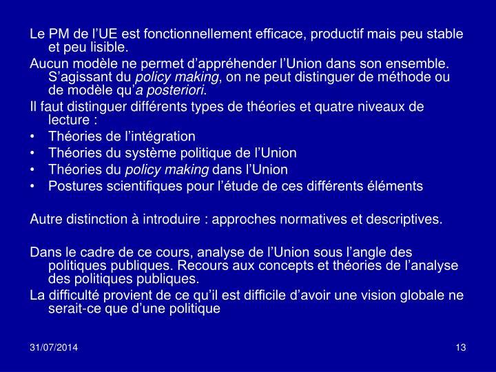 Le PM de l'UE est fonctionnellement efficace, productif mais peu stable et peu lisible.