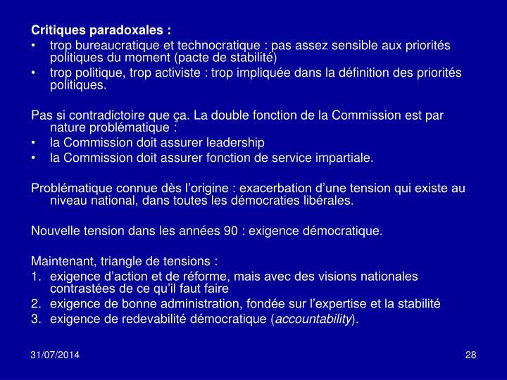 Critiques paradoxales: