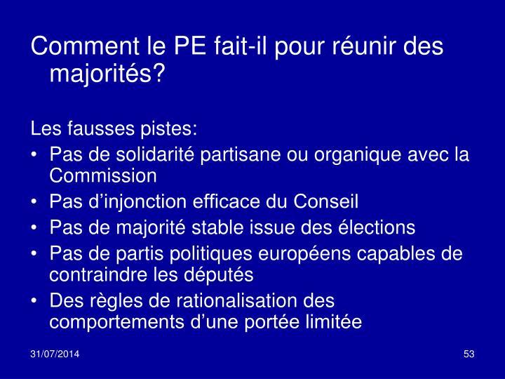 Comment le PE fait-il pour réunir des majorités?