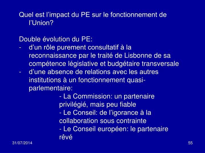 Quel est l'impact du PE sur le fonctionnement de l'Union?