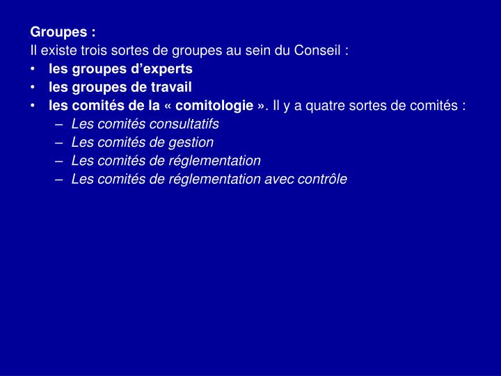 Groupes: