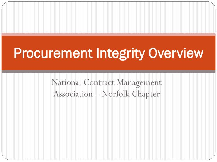 procurement integrity overview n.