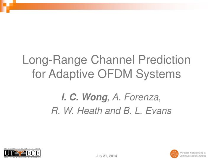 long range channel prediction for adaptive ofdm systems n.