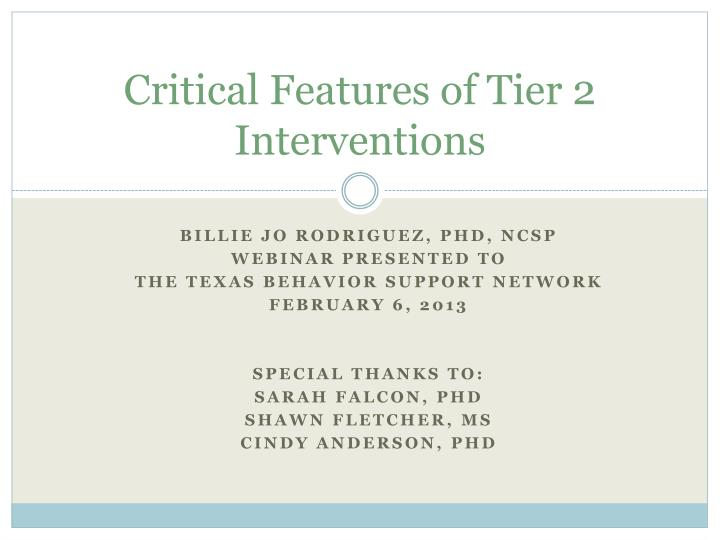 critical features of tier 2 interventions