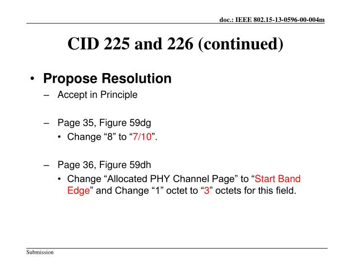 Cid 225 and 226 continued