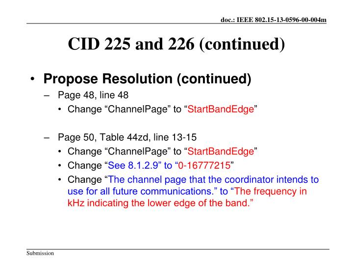 CID 225 and 226 (continued)