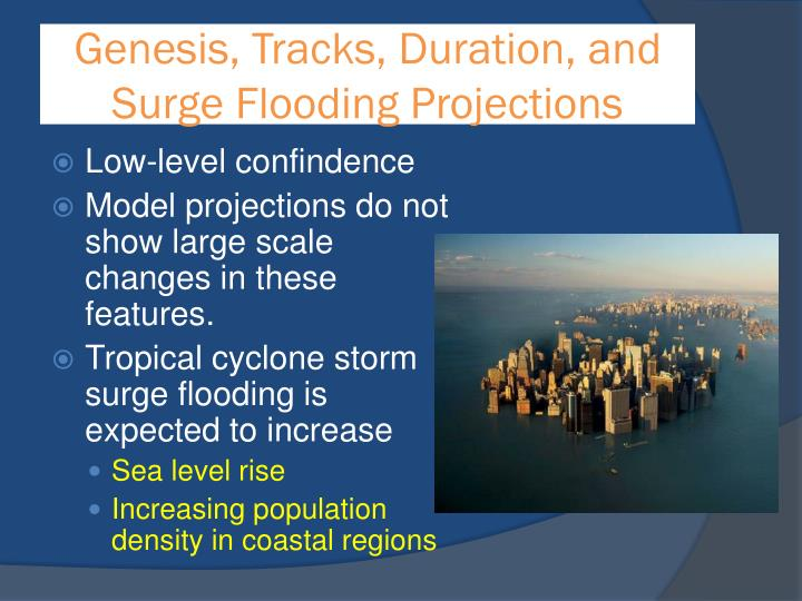 Genesis, Tracks, Duration, and Surge Flooding Projections