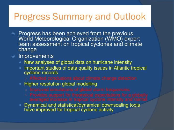 Progress Summary and Outlook