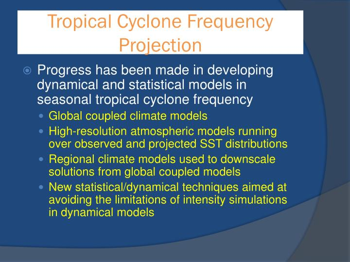Tropical Cyclone Frequency Projection
