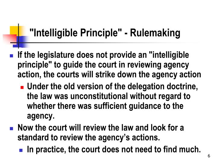 """Intelligible Principle"" - Rulemaking"