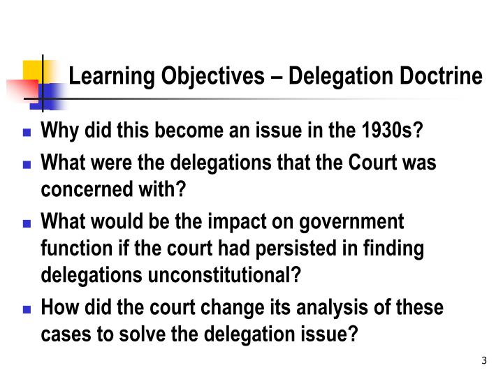 Learning objectives delegation doctrine