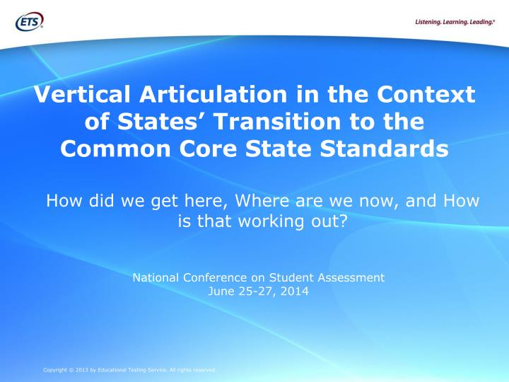 vertical articulation in the context of states transition to the common core state standards n.