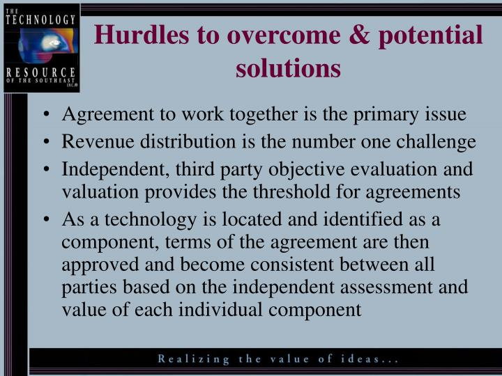 Hurdles to overcome & potential solutions