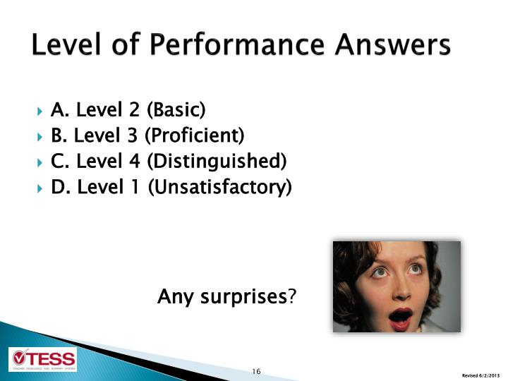 Level of Performance Answers