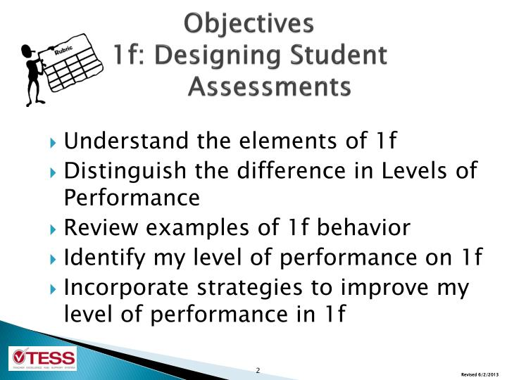 Objectives 1f designing student assessments