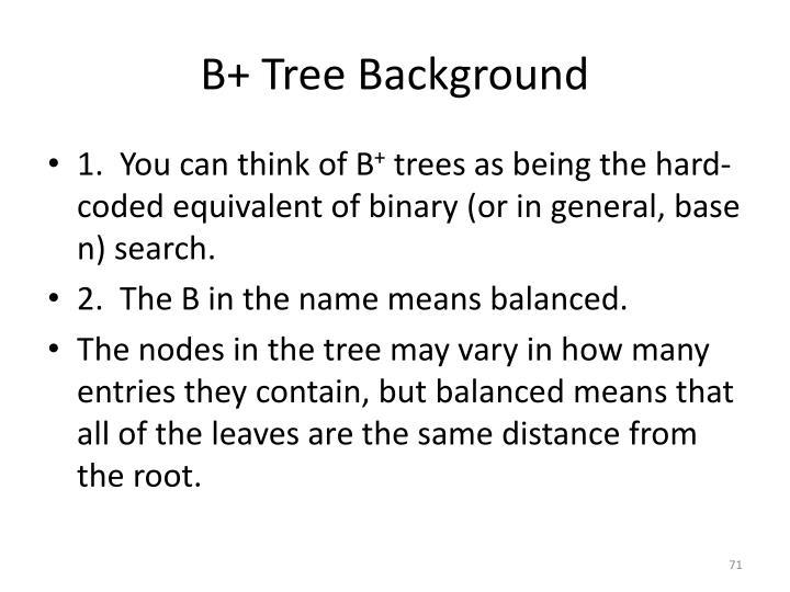 B+ Tree Background
