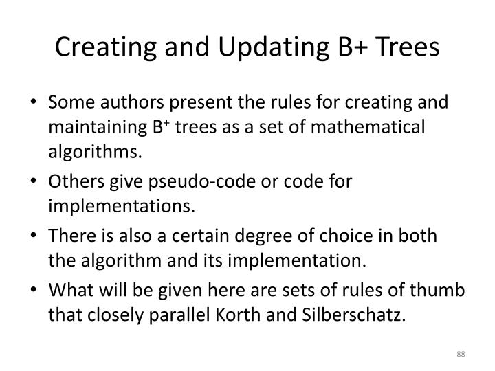 Creating and Updating B+ Trees