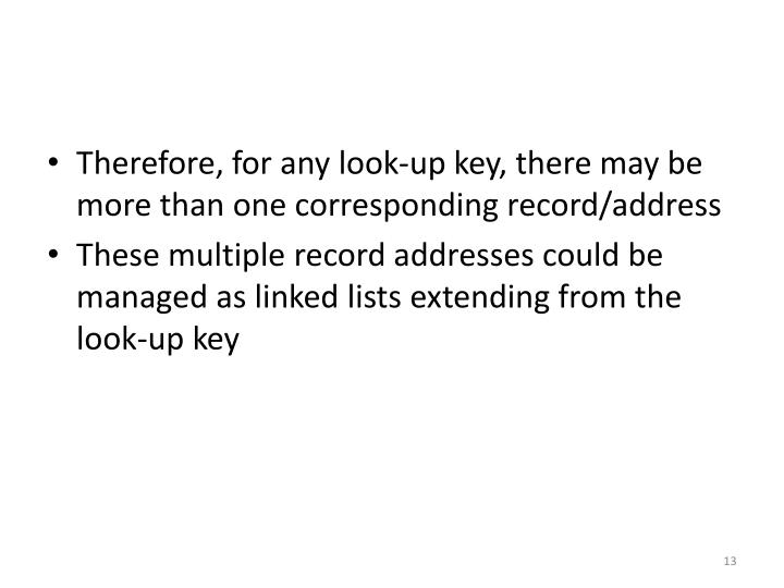 Therefore, for any look-up key, there may be more than one corresponding record/address
