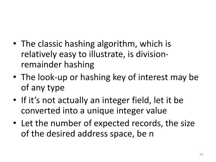 The classic hashing algorithm, which is relatively easy to illustrate, is division-remainder hashing