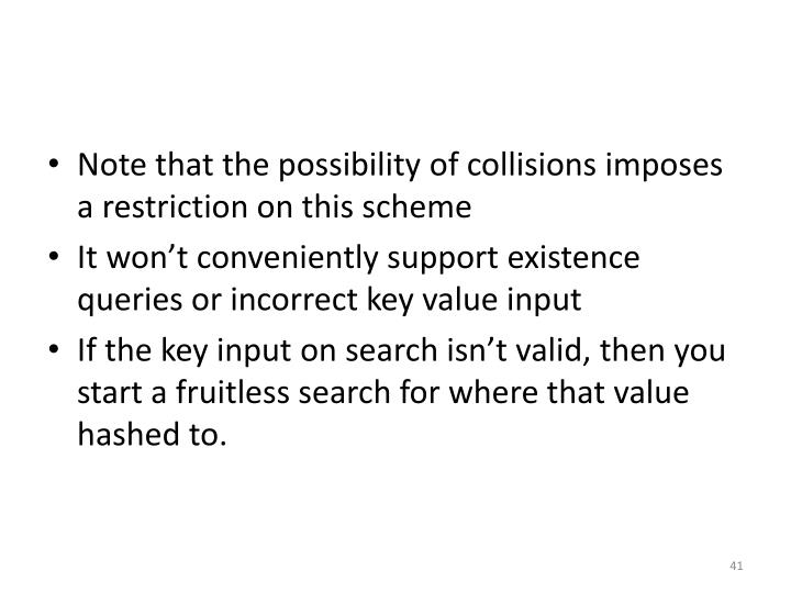 Note that the possibility of collisions imposes a restriction on this scheme