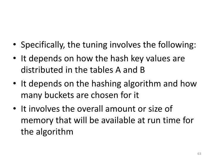 Specifically, the tuning involves the following: