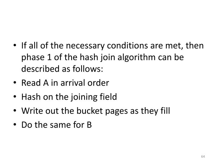 If all of the necessary conditions are met, then phase 1 of the hash join algorithm can be described as follows: