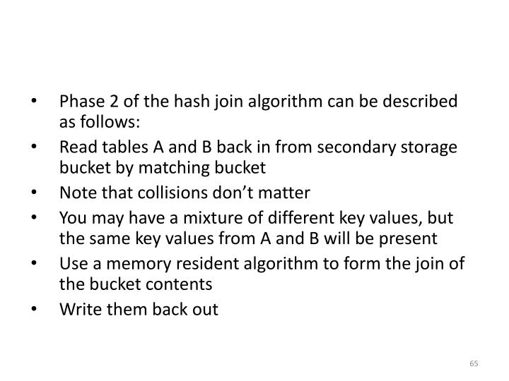 Phase 2 of the hash join algorithm can be described as follows: