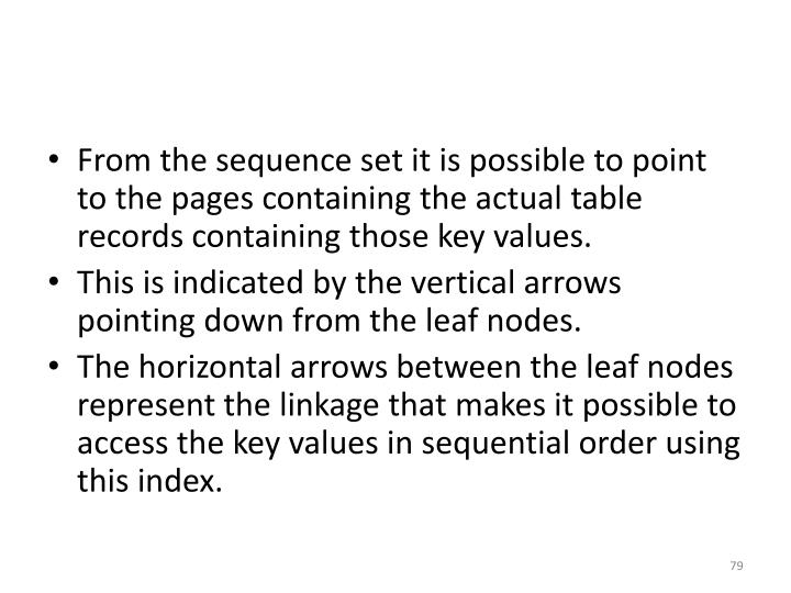 From the sequence set it is possible to point to the pages containing the actual table records containing those key values.