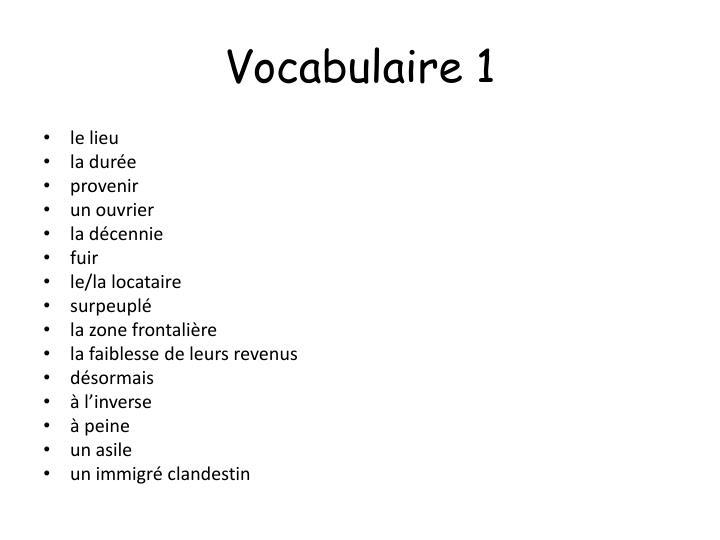 Vocabulaire 1