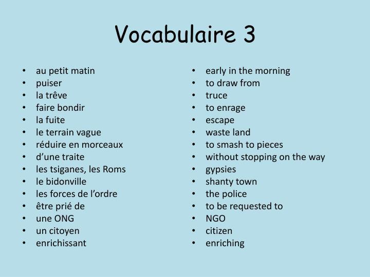 Vocabulaire 3