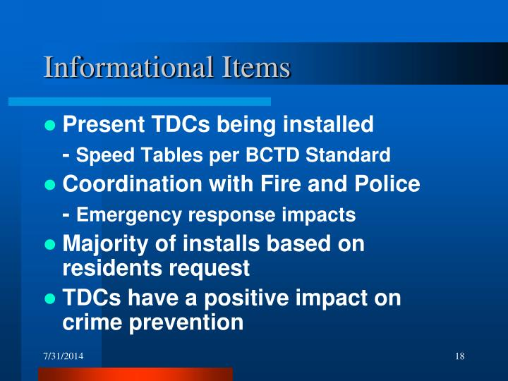 Informational Items