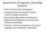 general aims of linguistics second big question