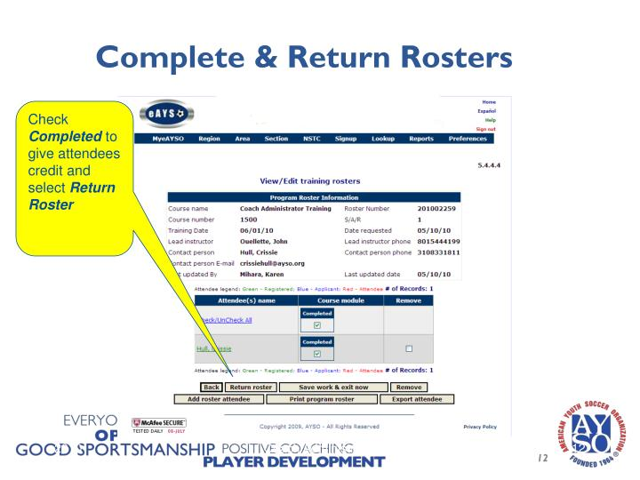 Complete & Return Rosters