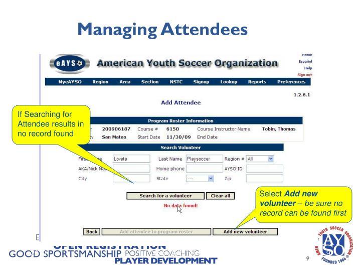 Managing Attendees